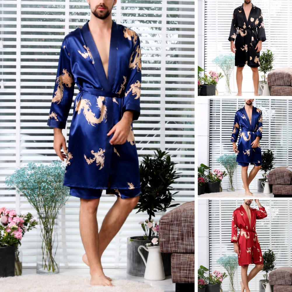 One Set Men Robe Shorts Summer Thin Long-sleeved Pajamas Large Size Bathrobes Sleepwear