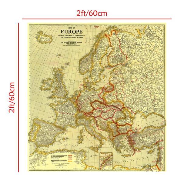 Купить карта европы в 1920 году 60x60 см мира конференции париже виниловый