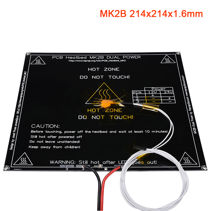 3D Printer Parts MK2B Heatbed 12/24V Without/With Thermistors NTC100K Cable LED Resistor 214x214x1.6MM Heated Bed For Stiker