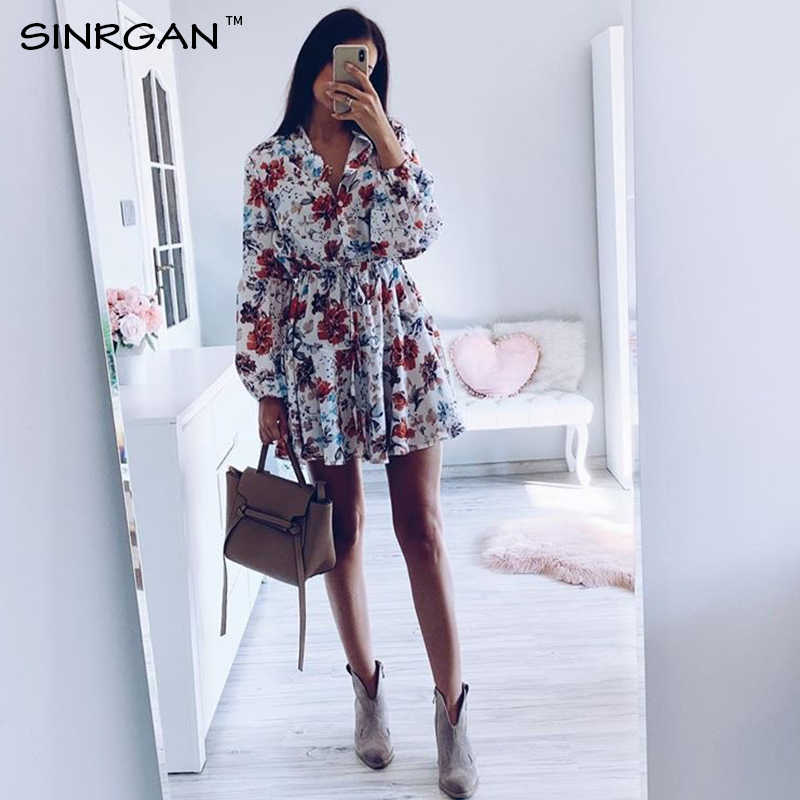 SINRGAN Women Floral Sashes Shirt Dress Beach Ladies Loose Short Korean Dress Autumn 2019 Waist Steetwear