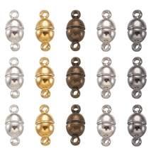 Juego de cierres magnéticos de latón sin níquel, accesorios de joyería ovalados, platino, antiguo dorado, bronce de bronce, 11x5mm, agujero: 1mm, 100 juegos
