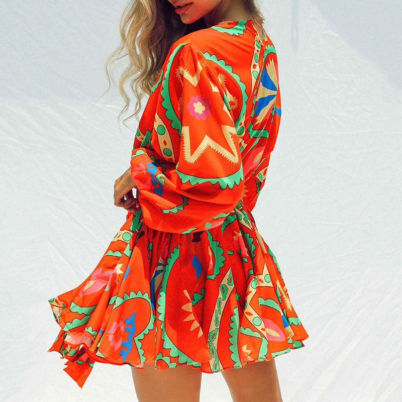 Elegant O Neck Vintage Lantern Sleeve Women Dresses Spring Summer Fashion Colorful Print Ladies Dress Tie Up Belt Loose Dress