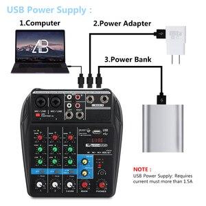 Image 5 - A4 4 ערוצים אודיו מיקסר קול ערבוב קונסולה עם Bluetooth USB שיא 48V פנטום כוח צג נתיבים בתוספת אפקטים