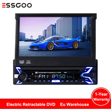 "Essgoo Radio de coche 7 ""retráctil Autoradio DVD Central reproductor Multimedia 1din Auto Audio estéreo Mp5 retrovisor Bluetooth Cámara AUX(China)"
