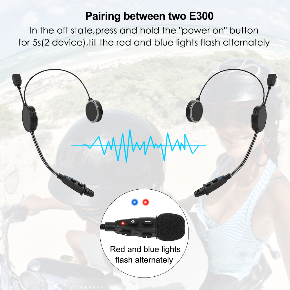 2pcs EJEAS E300 Motorcycle Helmet Intercom Bluetooth 4.2 AUX 40mm Speaker Compatiable With 2 Mobile Devices