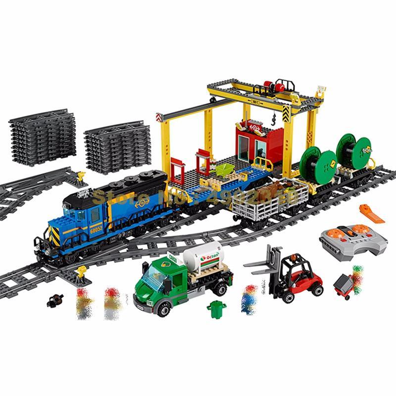 959pcs city explorers cargo train forklift truck crane rc remote control building block 60052 Bricks Toy