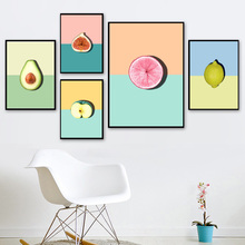 Color Avocado Lemon Apple Mangosteen Wall Art Canvas Painting Nordic Posters And Prints  Pictures Baby Kids Room Decor