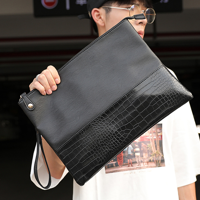 Badenroo Male Envelope Bag Simple Alligator Crocodile Leather Business Male Clutch Shoulder Bag Fashion Day Clutches Masculina