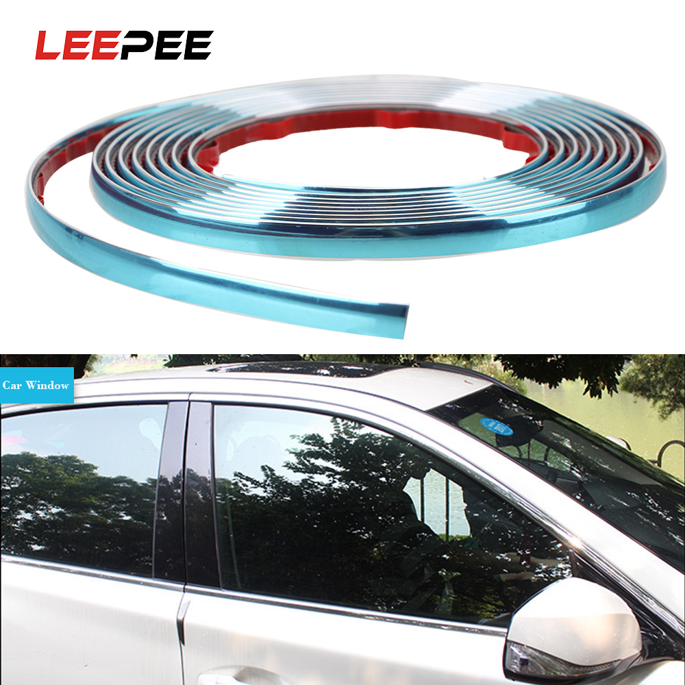 LEEPEE Car Side Door Chrome Decoration Strip Self Adhesive Styling Mouldings Silver Car Rearview Mirror Bumper Protector Tape