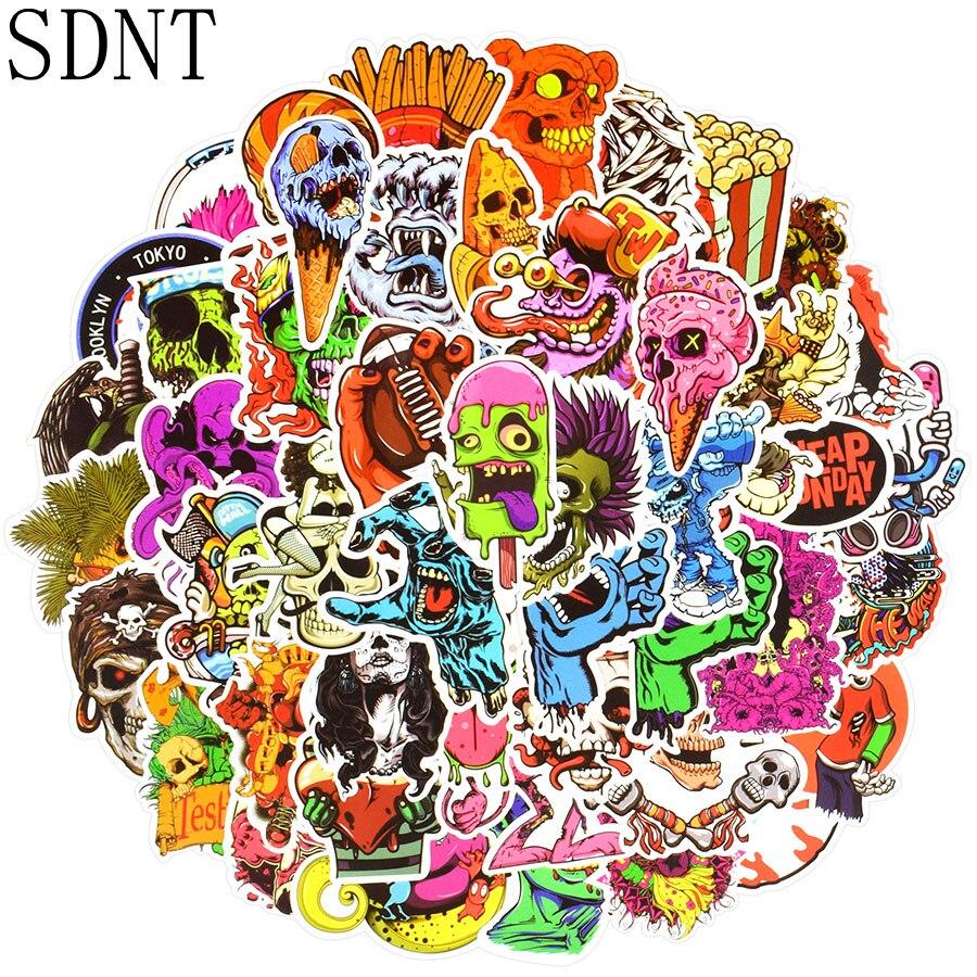50 PCS Terror Stickers Ghost Graffiti Skeleton Cool Rock Punk JDM Sticker For Adult DIY Laptop Skateboard Guitar Fridge Car Bike
