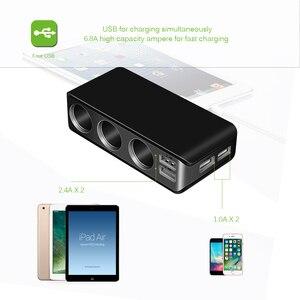 Image 2 - Chargeur de voiture 4 ports USB 6.8A chargeur USB voltmètre avec 3 voies voiture allume cigare prise répartiteur 120W adaptateur secteur chargeur