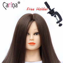 45cm 100% Real Natural Hair Professional Head Hairdressing Dolls Maniquines Women Mannequin Training