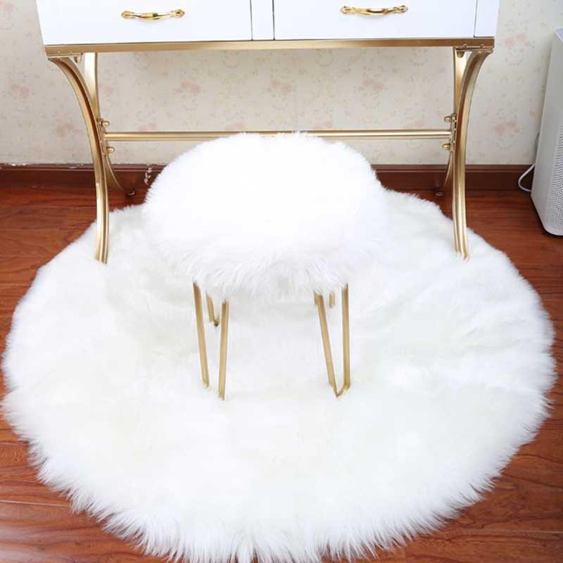 30*30CM suave pequeña alfombra de piel de oveja Artificial funda de silla alfombra de dormitorio Alfombra de lana Artificial peluda asiento de piel Textil alfombras de área