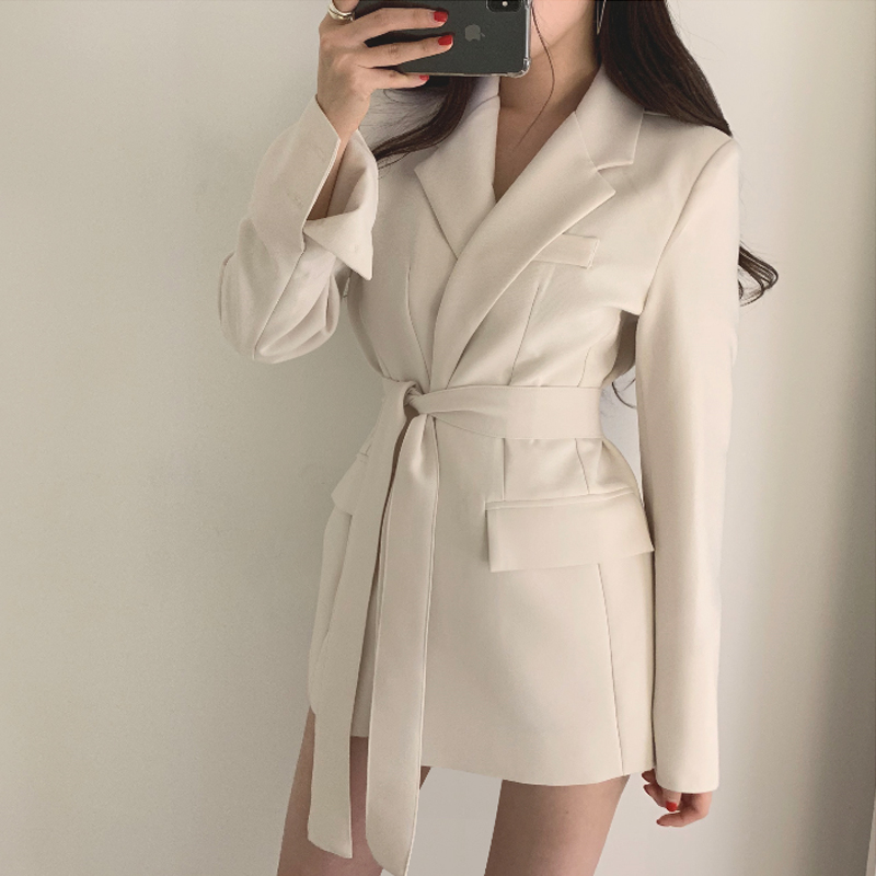 New Spring Autumn Women Long Sleeve Without Buckle Casual Blazers Solid Sashes Female Slim Office Ladies Formal Blazers Outwear
