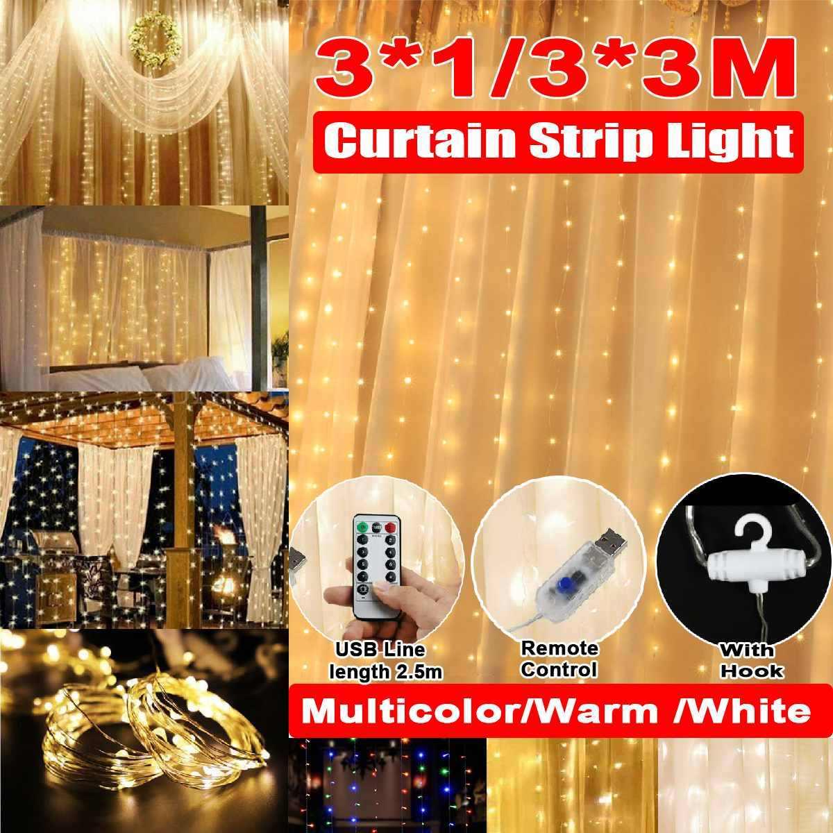 3m x 1 متر/3 متر x 3 متر USB شريط إضاءة ليد ضوء سلسلة الأسلاك النحاسية عيد الميلاد ضوء ل جارلاند عطلة الجنية حفل زفاف الديكور