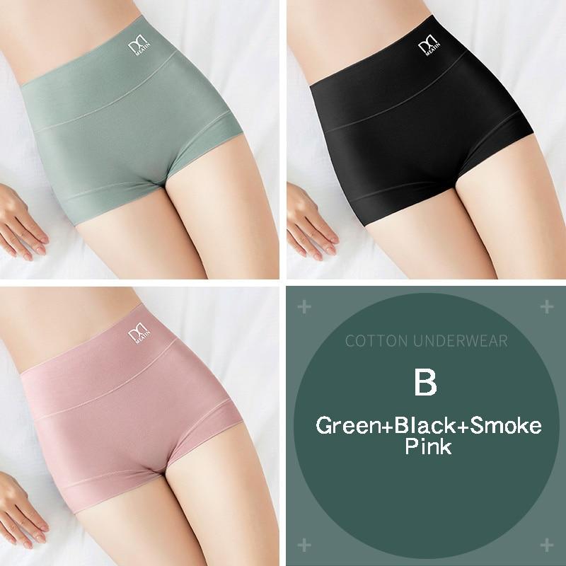 [3PCS/5PCS]/lot Women Silky Modal Panties Ladies High Waist Boyshort Breathable Soft Underwear Girls Briefs Safety Shorts Pants 19