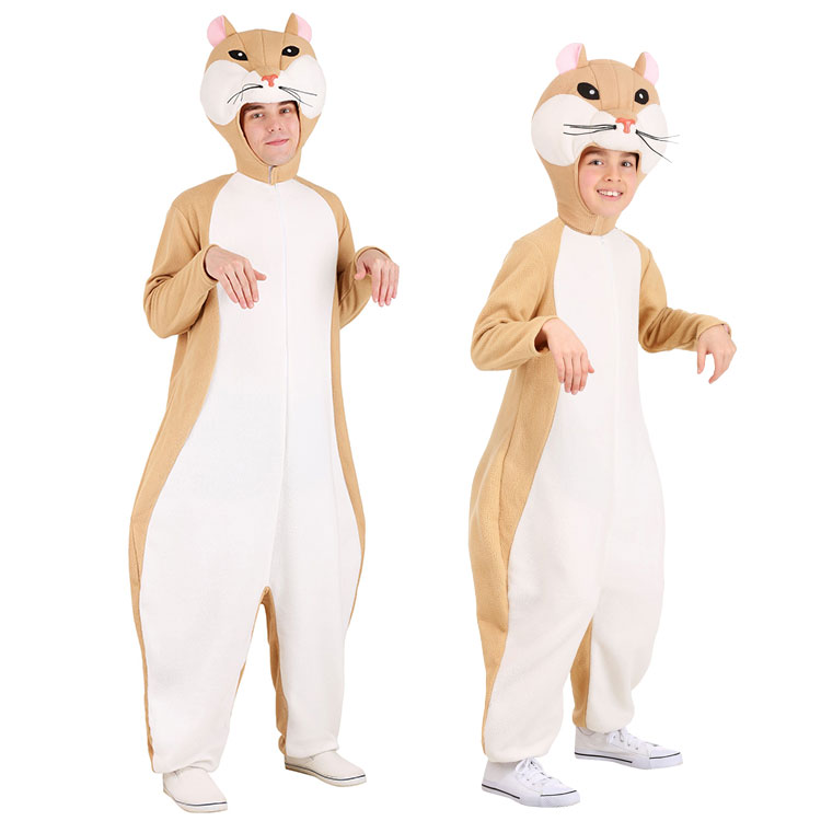 Cartoon Animal Cute Hamster Soft Jumpsuits Anime Party Cosplay Costume Halloween Adult Kids Rodent Rat Mouse Costume