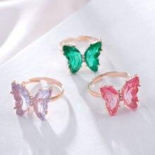 Design Mode Schmuck Eröffnung High-grade Kupfer Intarsien Zirkon Schmetterling Ring Luxus Shiny Cocktail Party Ring für Frauen Neue