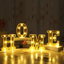 цена на LED Night Light Lamp Marquee Sign Alphabet Lights Home Club Outdoor Indoor Wall Wedding Decoration CM