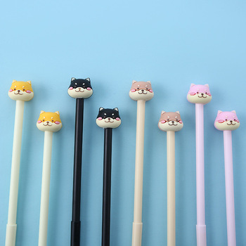 4pcs Cute Husky Dog Pen Ballpoint 0.5mm Black Color Gel Ink Pens for Writing Signature Stationery Office School Supplies A6946 8 pcs blue color ballpoint pen 0 7mm syringe pens for writing signature stationery office material school supplies canetas cb219