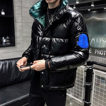 Зимняя яркая верхняя одежда, стиль, модный мужской короткий пуховик контрастного цвета со стоячим воротником, повседневный пуховик на белом утином пуху в Корейском стиле
