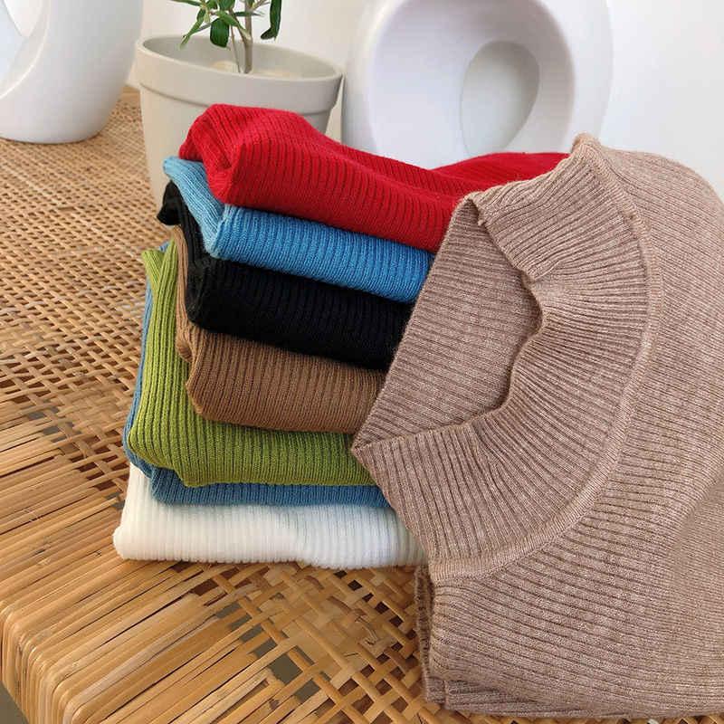 2019 nuevos suéteres de punto informales para mujeres otoño Delgado coreano de manga larga jerséis elásticos de punto camisetas de mujer suéter blanco