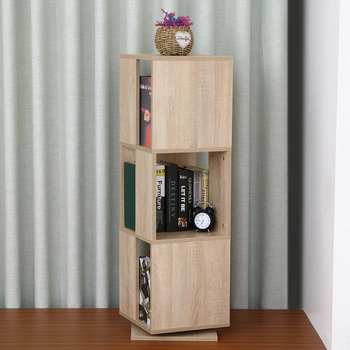3 Tier Bookcase 360 Degree Rotating Corner Bookshelf Display Shelf Storage Media Tower 3 Tier Display Shelf Modern