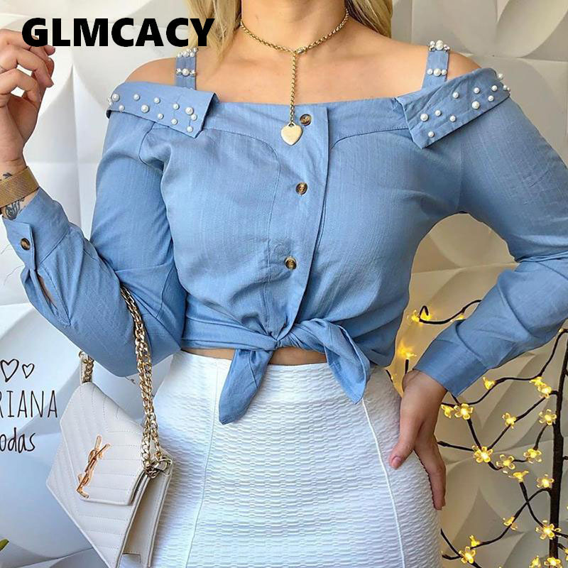 Women Cold Shoulder Beaded Knotted Detail Blouse Long Sleeve Button Off Shoulder Summer Fall Blouse Shirt Casual Tops Streetwear