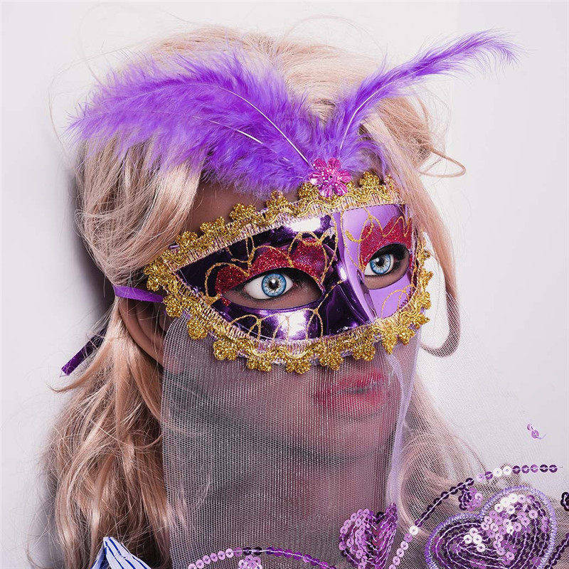 Halloween Facemask Rose Women's Brilliant Masquerade Mask Oriental Fluffy Feather Venetian Mask Mask Gift HOT Dropshipping  #e