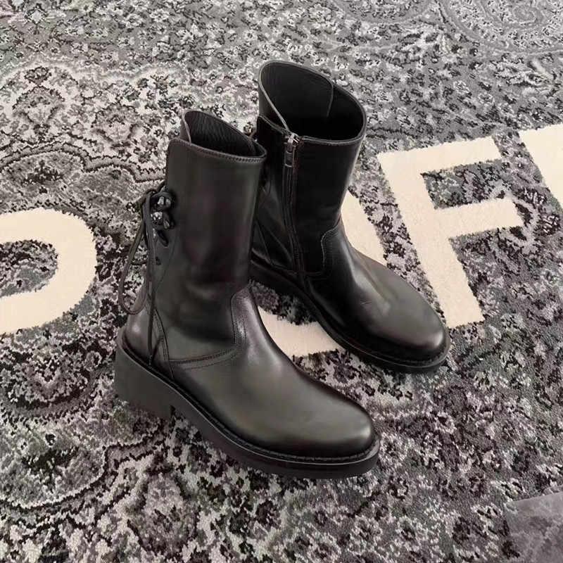 Prova Perfetto נשים צלב קשור קרסול מגפי אופנה שחור שרוכי Botas Fenimina מזדמן רוכסן אופנוע שמנמן Botines Mujer