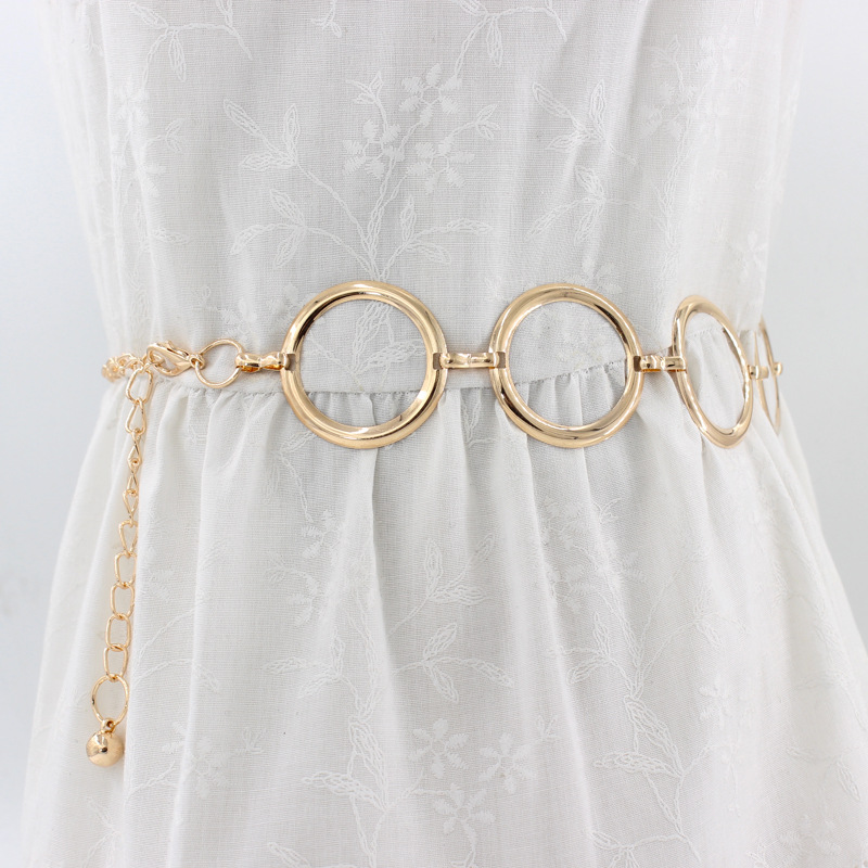 Ladies Fashion Geometric Long Belly Waist Chain For Women Personality Dress Metal Belt Female Gold Ring Chain Belt Accessories