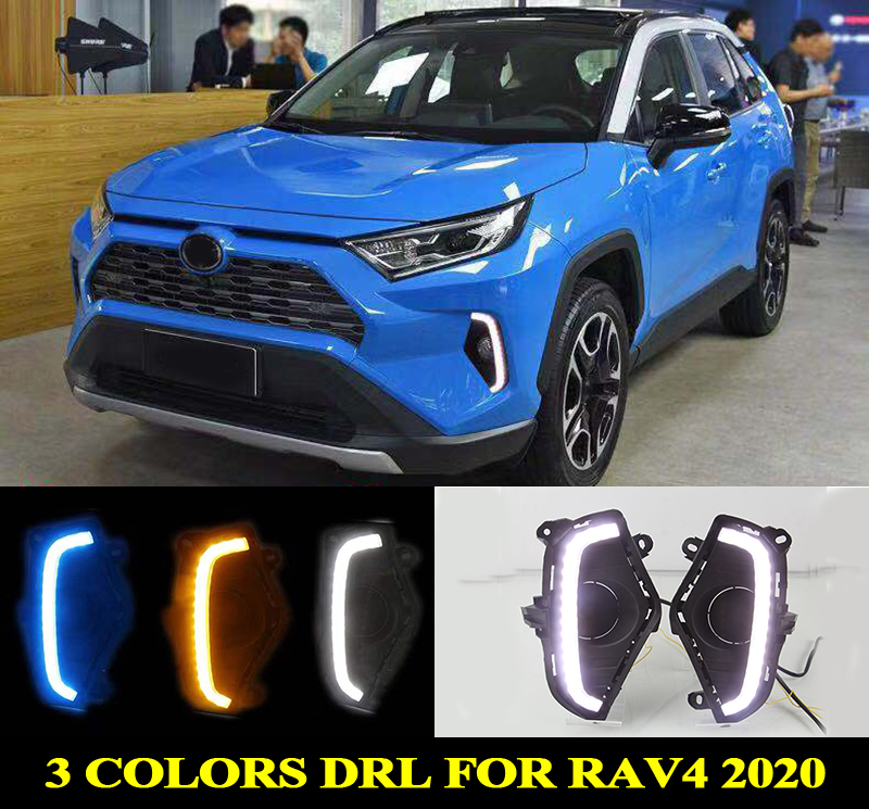 for Toyota <font><b>RAV4</b></font> 2019 <font><b>2020</b></font> 3 Colors LED DRL Day Light Daytime Running Light blue white yellow Driving Lamp with Turn Signal image