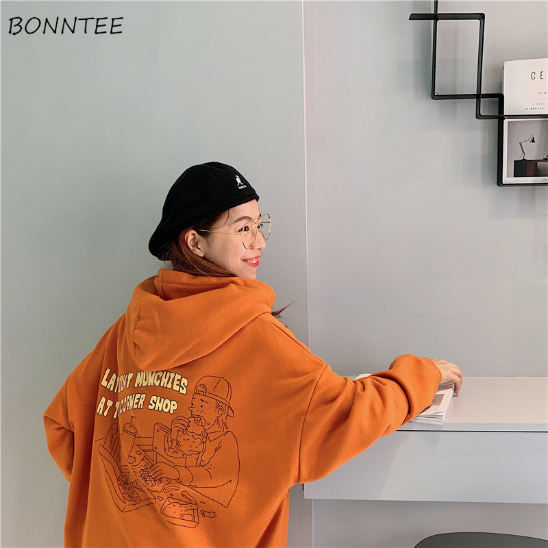 Hoodies Women 2020 Korean Style Loose Girls Thin Cartoon Printed Large Ulzzang Harajuku Womens Sweatshirts Chic Casual Fashion
