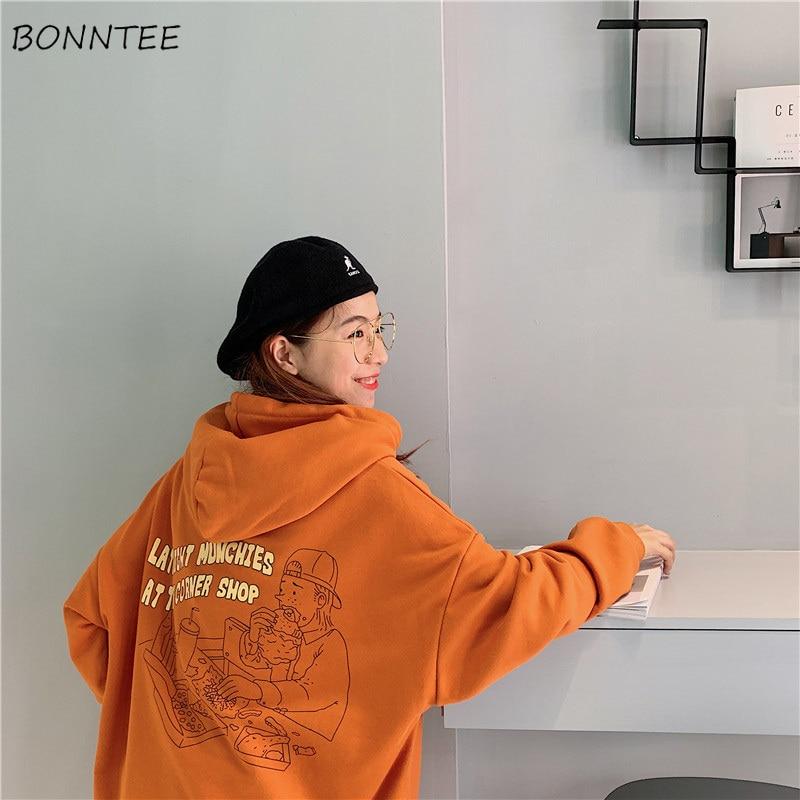 Hoodies Women 2020 Korean Style Loose Girls Thin Cartoon Printed Large Ulzzang Harajuku Womens Sweatshirts Chic Casual Fashion