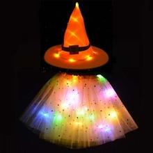 Hat Skirt Costume-Props Tutu Light Party-Supplies LED Glow Christmas Halloween Girl