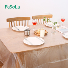 FaSoLa Disposable Tablecloth for table Rectangle Table Cover Waterproof HDPE Plastic Thin Transparent Table Cloth