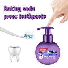 Creme dental branqueamento dentes remoção mancha clareamento bicarbonato de sódio pasta de dentes paixão fruta mirtilo refrigerante creme dental adulto # t2p