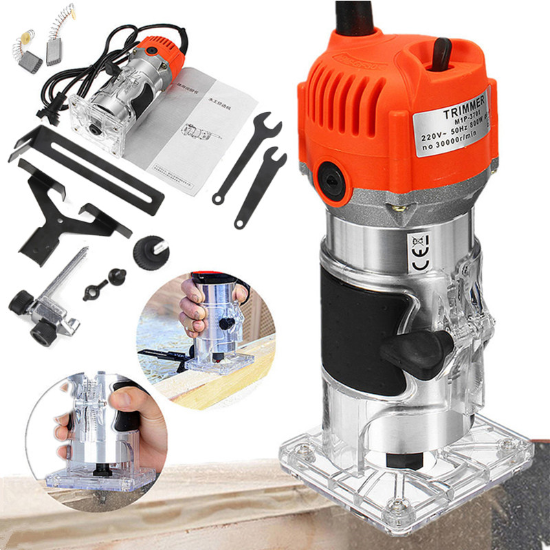 800W 30000rpm Woodworking Electric Trimmer Wood Milling Engraving Slotting Trimming Machine Hand Carving Machine Wood Router