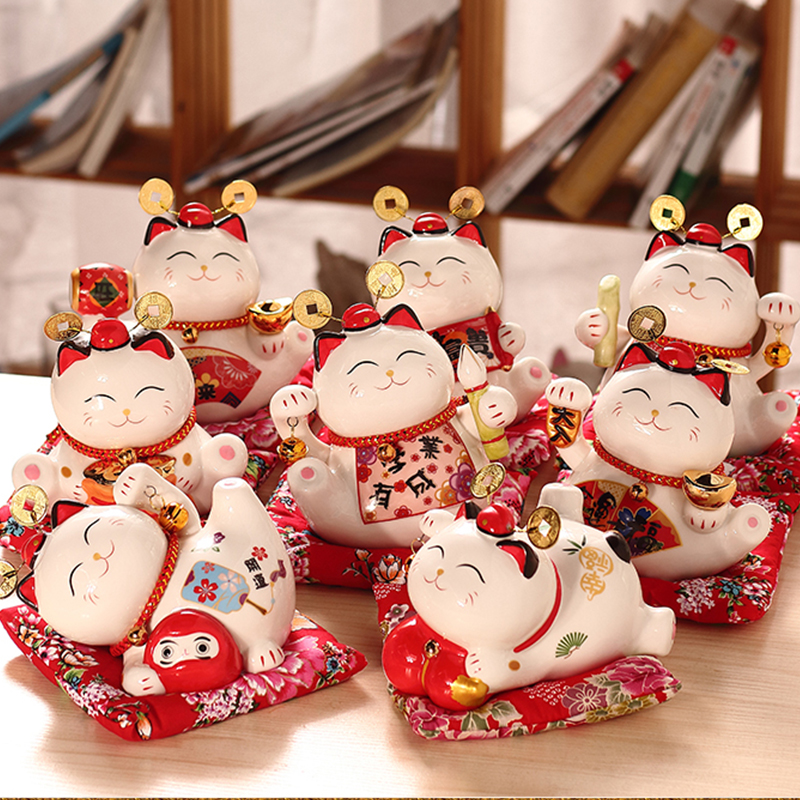 Lucky Cat Opening Feng Shui Savings Piggy Bank Ceramic Home Decoration Shop Gift Gift Cat Decoration coin saving box coin box