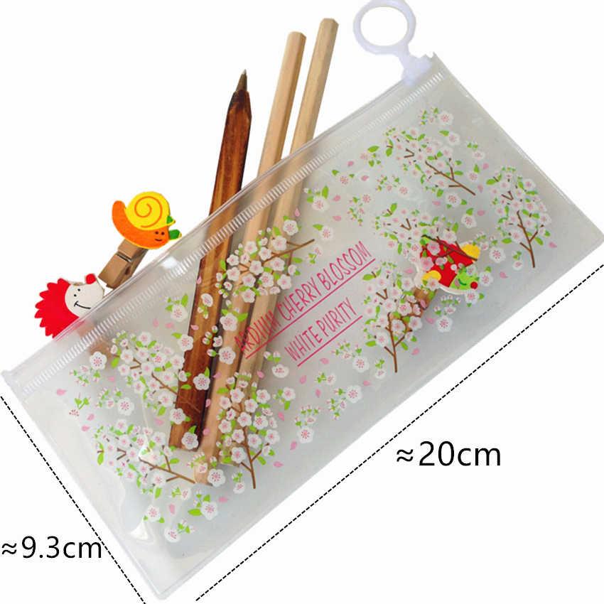Caneta escolar transparente de raposa, material de papelaria criativa 1 pçs/lote kawaii, material escolar