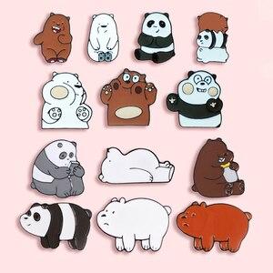 Cartoon Cute Panda Metal Enamel Brooch Funny Brown Bear Polar Bear Badge Pin Petite Trendy Children's Clothing Backpack Jewelry