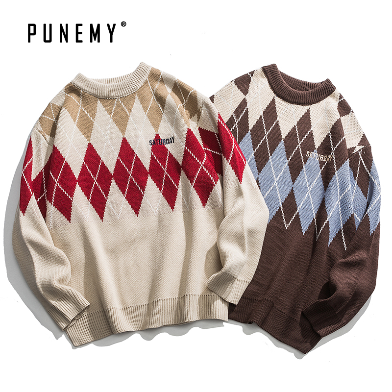 Men Sweaters Retro Argyle Pattern Acrylic Oversize O-neck Hip Hop Streetwear Harajuku Autumn New Casual Men's Pullover Sweaters