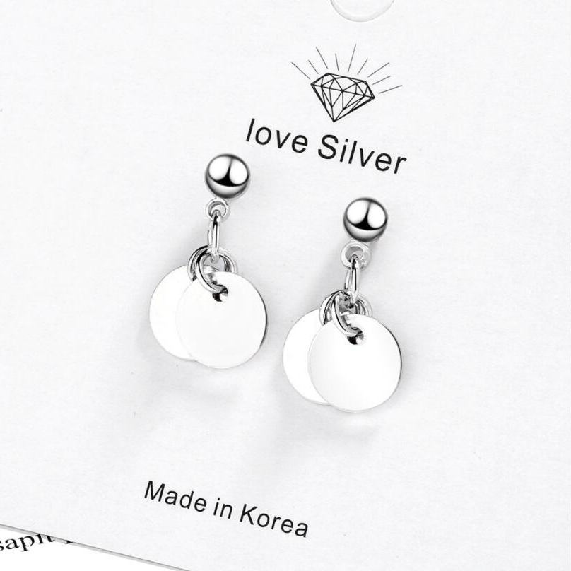 Купить с кэшбэком Round Studs  Stud Earrings For Women Contracted Female Compact Contracted Students Joker Temperament Small Delicate Earrings