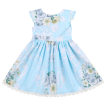 Flofallzique Cotton Vintage Floral Girl Fress With Cross Lace Up Princess Toddler Baby Kid Princess Clothes For Christmas Party