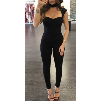 New Sexy Women Ladies Solid Black Slim Clubwear Playsuit Sleeveless Halter V-neck Jumpsuit Bodycon Party Jumpsuit Romper Trouser hot sale summer ladies women jumpsuits clubwear playsuit bodycon party sexy long sleeve jumpsuit romper trousers 2019 new