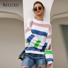 Seluxu 2019 New Autumn Women Sweater Round Neck Sweater Long Sleeve Patchwork Color Striped Women Tops Women Pullovers stylish long sleeve round neck color block striped patterned girl s sweater