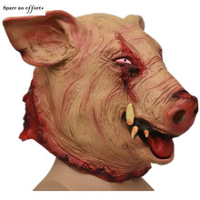 Scary Pig Head Halloween Mask Animal Headgear Big Fangs Wild Boar Halloween Crafts Fierce Scary Pink Halloween Props Funny