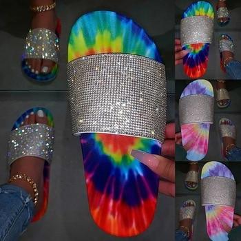 2020 Womens Slippers Summer Glitter Bling Slide Flat Slipper Shoes Low Heel Comfortable Breathable Sandals