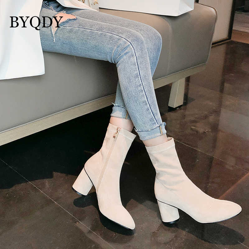 BYQDY yeni 2020 kadın yarım çizmeler kalın topuk sivri burun kısa peluş çizmeler sonbahar rahat açık botlar ayakkabı artı boyutu 43 kış