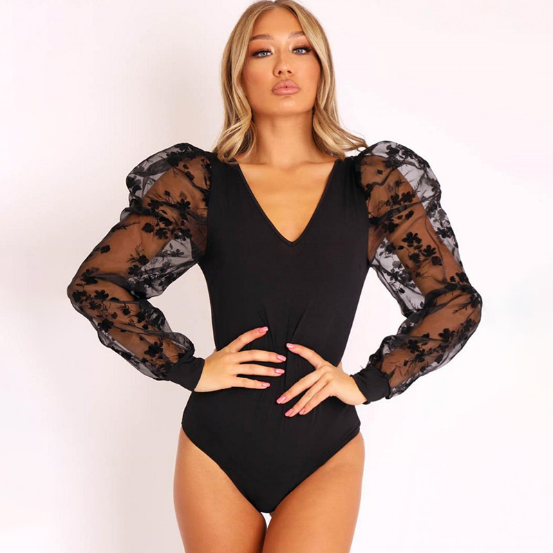 Bodysuit for Women Clothes One Piece Outfit Lace Puff Sleeve Bodysuits Sexy Summer Women's Vintage Black Bodys Female Body Tops